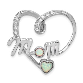 Sterling Silver Created Pink Opal and CZ Mom Pendant
