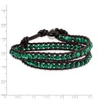 Quality Gold 6mm Green Malachite Beads Leather Cord Multi Wrap Bracelet