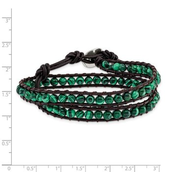 6mm Green Malachite Beads Leather Cord Multi Wrap Bracelet