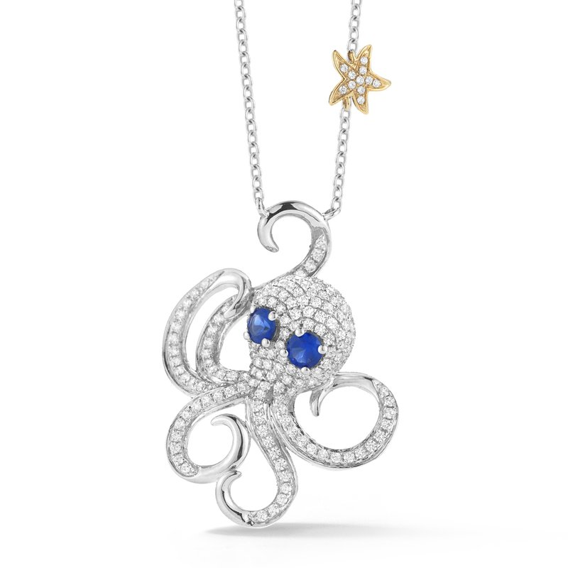 "Shula NY Beautiful 14K Octopus Necklace with 171 Diamonds 0.70C & 2 Blue sapphires 0.40C 1"" diameter"