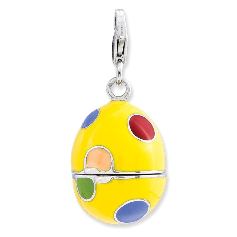 Quality Gold SS RH 3-D Enameled Egg w/Lobster Clasp Charm