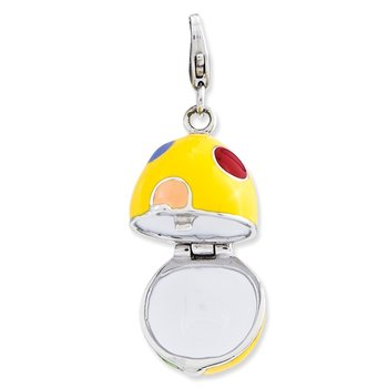 Sterling Silver 3-D Enameled Egg w/Lobster Clasp Charm