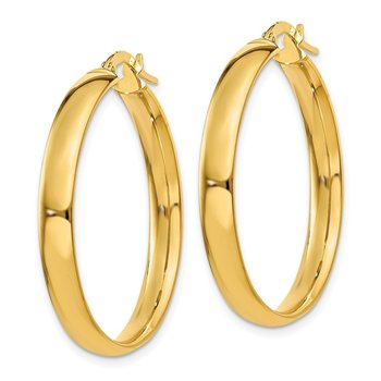 14k 4x25mm Polished Hoop Earrings