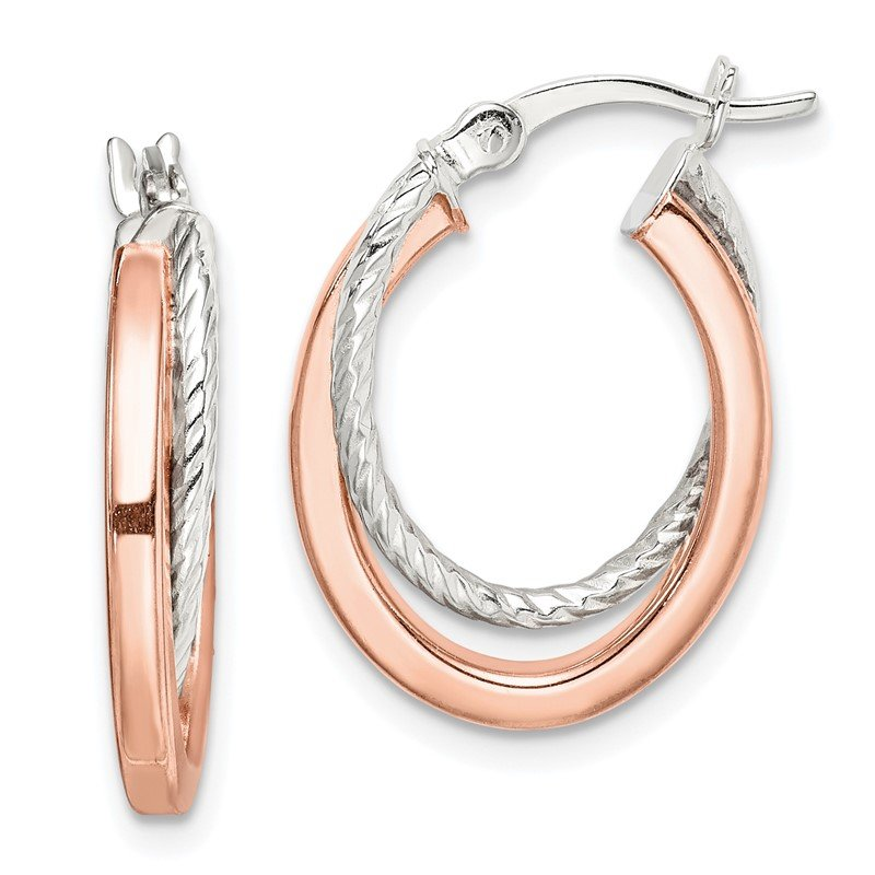 Quality Gold Sterling Silver and Rose Tone Double Hoop Earrings