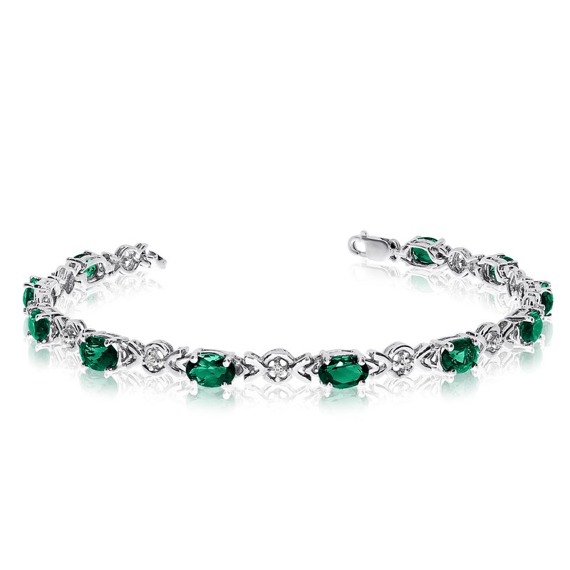 Color Merchants 10K White Gold Oval Emerald and Diamond Bracelet