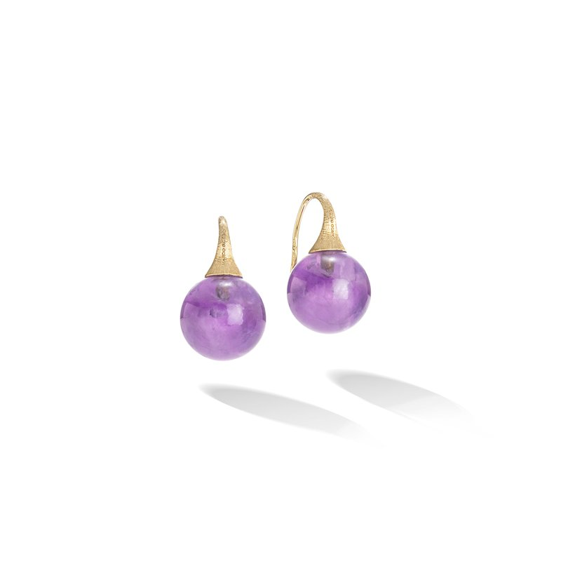 Marco Bicego Africa Boules 18K Yellow Gold and Amethyst French Wire Earrings