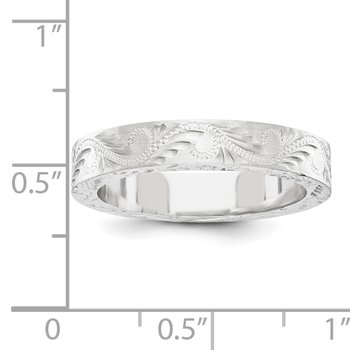 14k White Gold Fancy Wedding Band