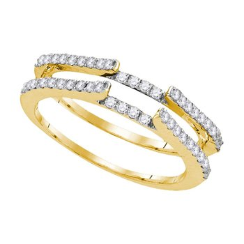14kt Yellow Gold Womens Round Diamond Ring Guard Wrap Solitaire Enhancer 1/2 Cttw