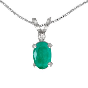14k White Gold Oval Emerald And Diamond Filagree Pendant