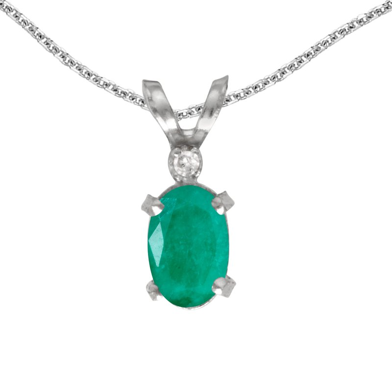 Color Merchants 14k White Gold Oval Emerald And Diamond Filagree Pendant