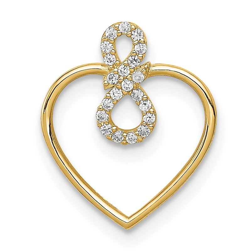 Quality Gold 14K Heart CZ Infinity Symbol Chain Slide