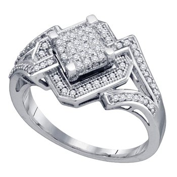10kt White Gold Womens Round Diamond Diagonal Square Frame Cluster Ring 1/3 Cttw