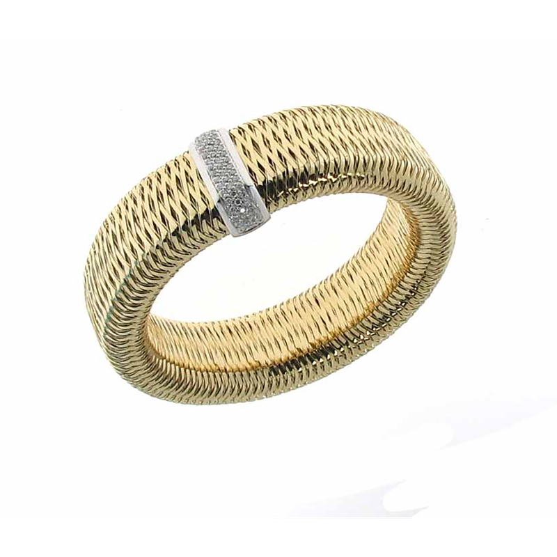 Roberto Coin 18KT GOLD LARGE BANGLE WITH DIAMONDS