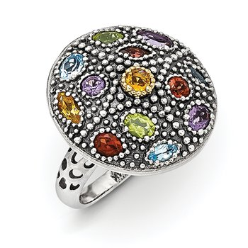 Sterling Silver w/14k Antiqued Multi Gemstone Ring