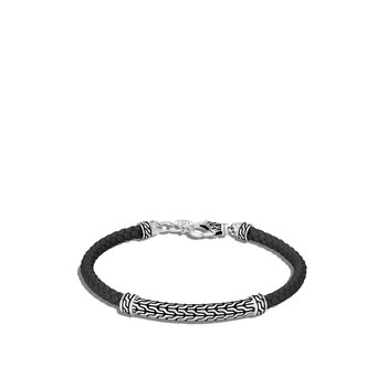 Classic Chain Station Bracelet in Silver with Leather