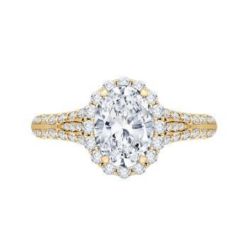 Oval Diamond Halo Vintage Engagement Ring In 18K Yellow Gold (Semi-Mount)