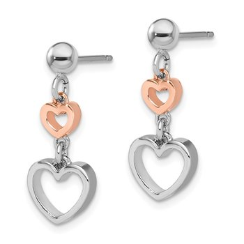 Sterling Silver Rhodium-plated Rose-tone Heart Dangle Earrings