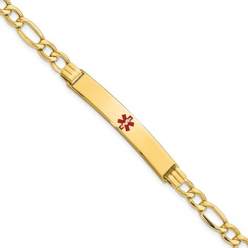14K Semi-Solid Medical Polished Red Enamel Figaro ID Bracelet