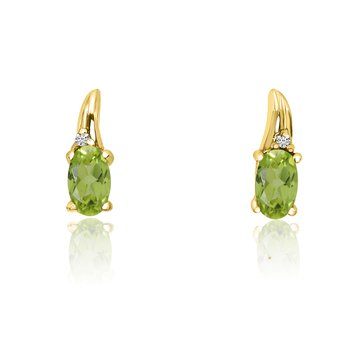14k Yellow Gold Peridot and Diamond Earrings