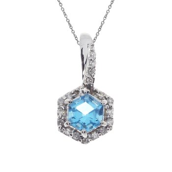 14k White Gold Blue Topaz Hexagonal Diamond Pendant