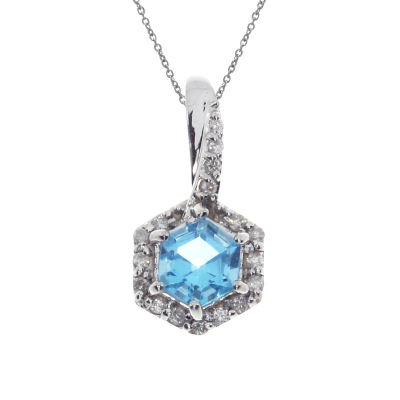 Color Merchants 14k White Gold Blue Topaz Hexagonal Diamond Pendant