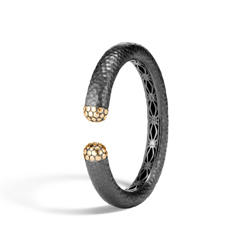 John Hardy Dot 12MM Kick Cuff, Blackened Hammered Silver and 18K Gold