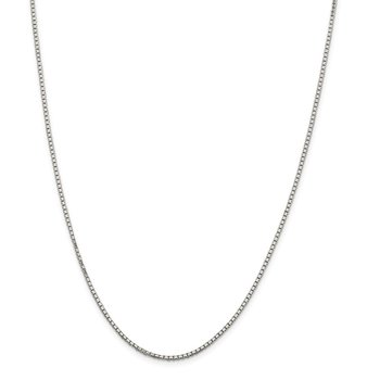 Sterling Silver Rhodium-plated 1.7mm 8 Sided D/C Mirror Box Chain w/2in ext