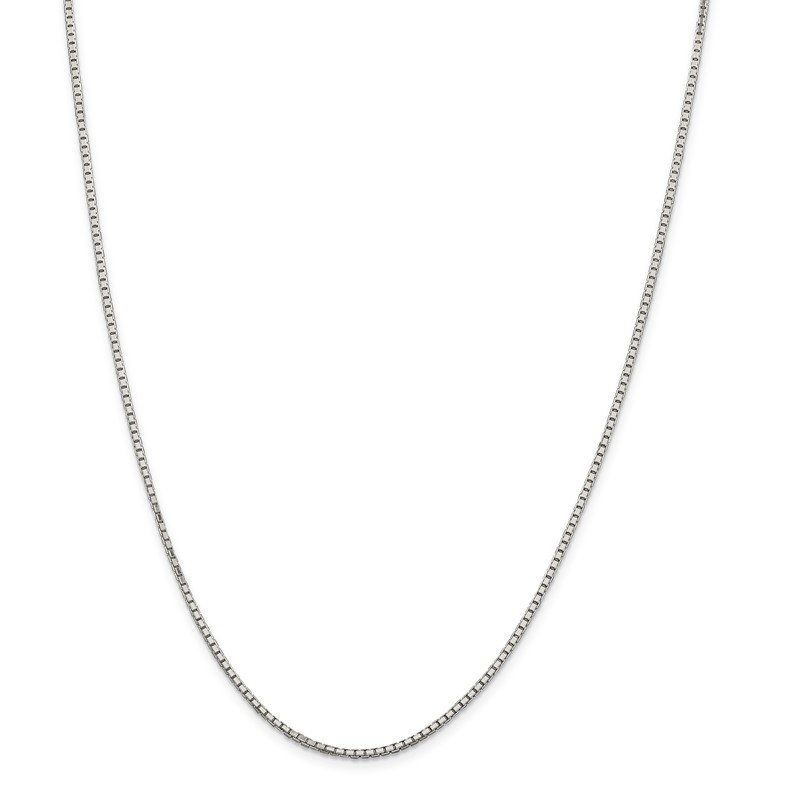 Quality Gold Sterling Silver Rhodium-plated 1.7mm 8 Sided D/C Mirror Box Chain w/2in ext