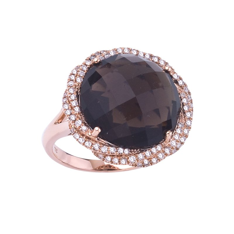 Color Merchants 14k Rose Gold Smokey Topaz and Diamond Ring