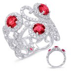 S. Kashi  & Sons White Gold Ruby & Diamond Ring
