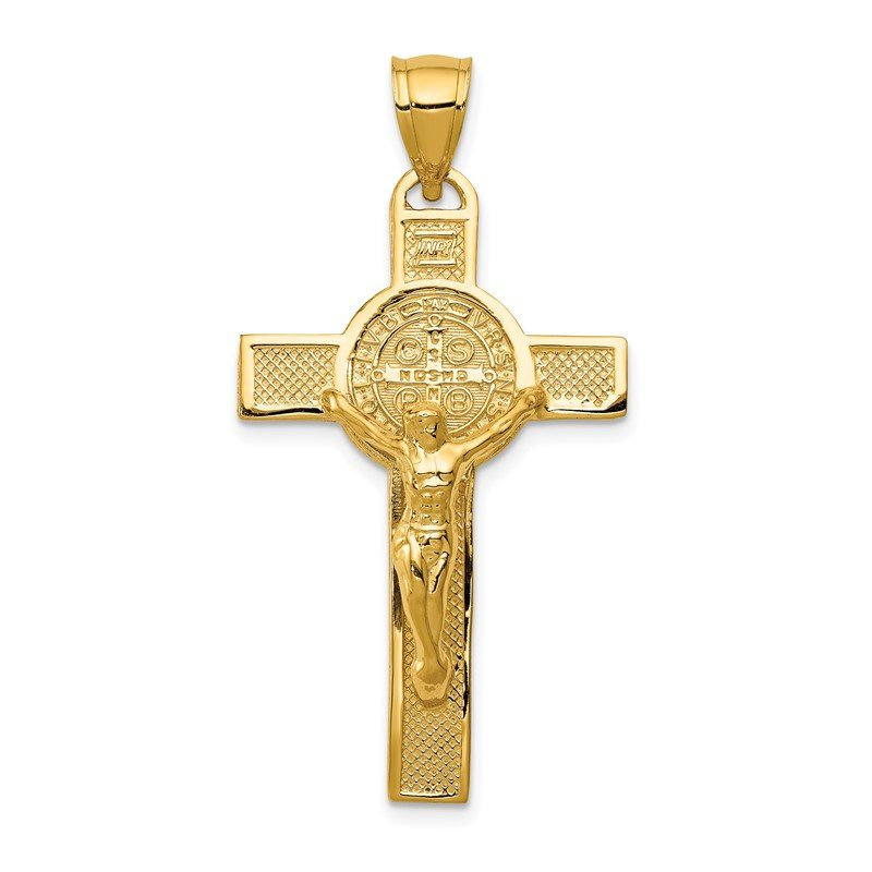Quality Gold 14k San Benito 2-Sided Crucifix Pendant