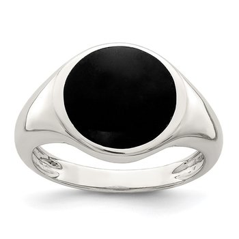 Sterling Silver Onyx Inlay Ring