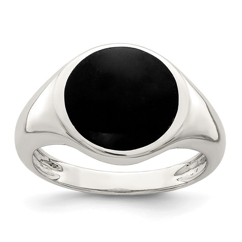 Quality Gold Sterling Silver Onyx Inlay Ring