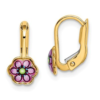 14K Children's Enamel Flower Leverback Earrings