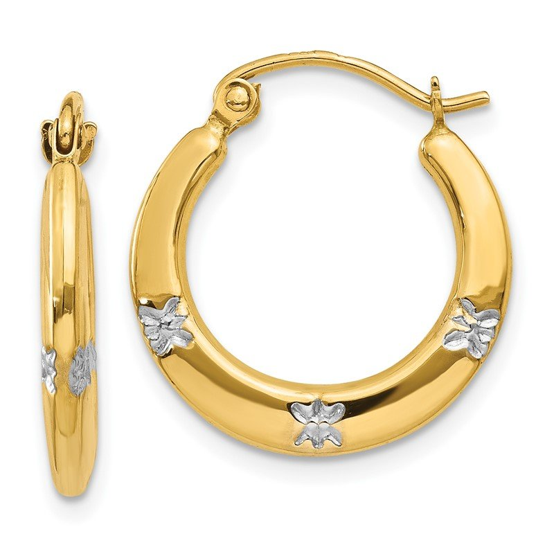 Quality Gold 14K & Rhodium Flowers Hollow Hoop Earrings