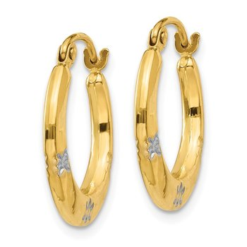14K & Rhodium Flowers Hollow Hoop Earrings
