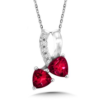 Trillion-Cut  Created Ruby and Diamond Pendant