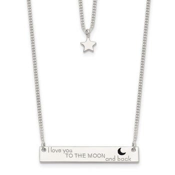 Sterling Silver Enameled Moon and Back 2-Strand Bar Necklace