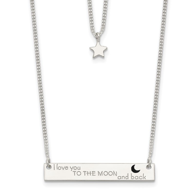 JC Sipe Essentials Sterling Silver Enameled Moon and Back 2-Strand Bar Necklace