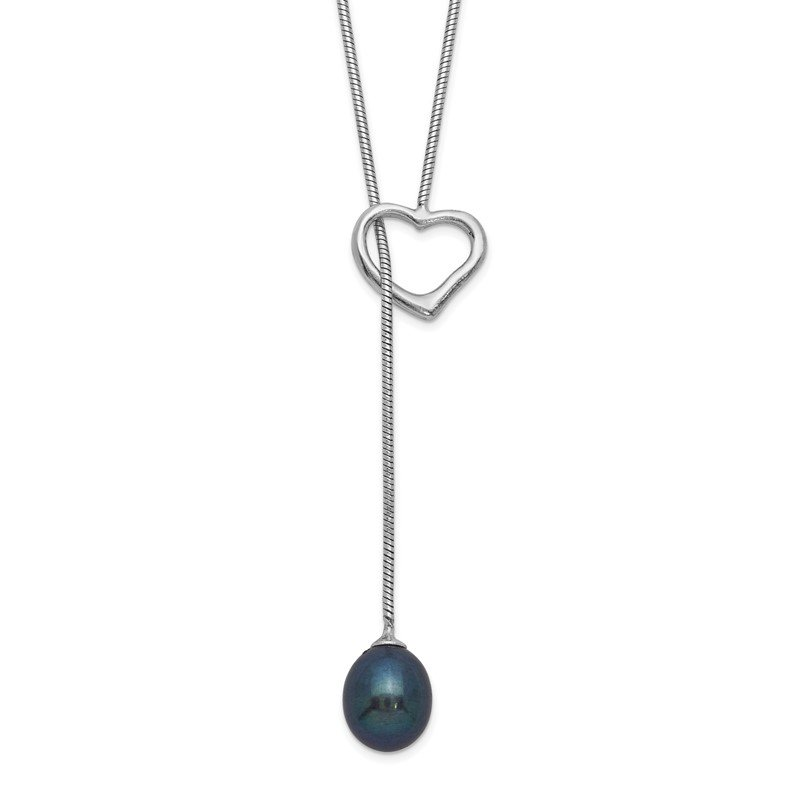 Quality Gold Sterling Silver Rhodium-plated 7-8mm Black Rice FWC Pearl Heart Necklace
