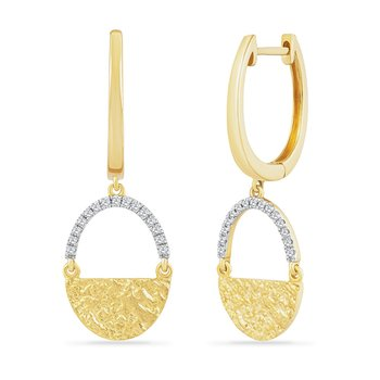 14KY OVAL SHAPE DROP EARRINGS WITH 30 DIAMONDS 0.099CT HAMMERED FINISH