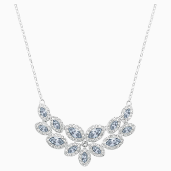 Baron Necklace, Blue, Rhodium plated