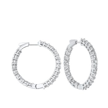In-Out Prong Set Diamond Hoop Earrings in 14K White Gold (7 ct. tw.) I2/I3 - H/K