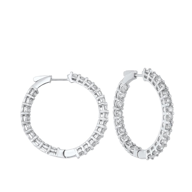 Calvin Broyles In-Out Prong Set Diamond Hoop Earrings in 14K White Gold (7 ct. tw.) I2/I3 - H/K