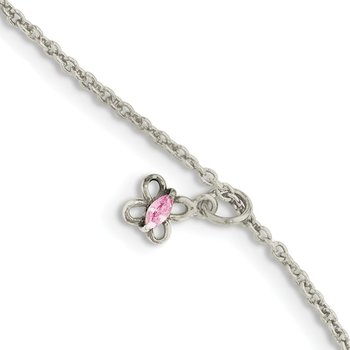 Sterling Silver Pink CZ 5in Plus 1.5in ext. Butterfly Kid's Bracelet