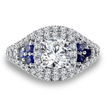 Diamond & Blue Sapphire Engagement Ring Mounting in 14K White Gold with Platinum Head (.63 ct. tw.)