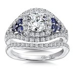 Caro74 Diamond & Blue Sapphire Engagement Ring Mounting in 14K White Gold with Platinum Head (.63 ct. tw.)