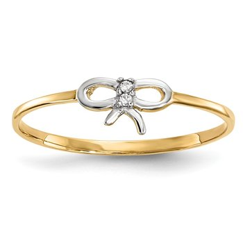 14k w/Rhodium CZ Bow Ring