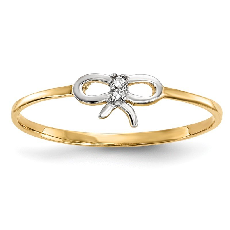 Quality Gold 14k w/Rhodium CZ Bow Ring