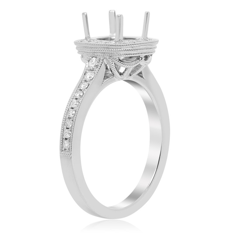 Roman & Jules White Gold Milgrain Engagement Setting